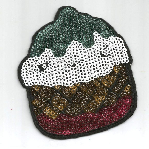 Other - 1pc Dessert Sweet Sequin Iron on Patch Applique